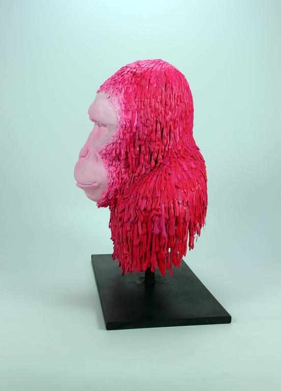 """Coco"", Ceramic Sculpture Covered in Strips of Acrylic Paint For Sale 2"