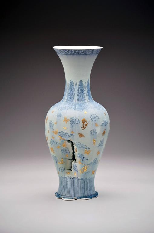 Steven Young Lee - Vase with Clouds and Butterflies by Steven Young Lee, Porcelain Sculpture, 2016 1