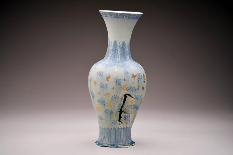 Vase with Clouds and Butterflies by Steven Young Lee, Porcelain Sculpture, 2016 For Sale 3
