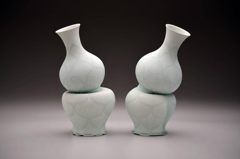 Gourd Vases with Lotus Pattern by Steven Young Lee, Porcelain Sculpture, 2016 For Sale 1
