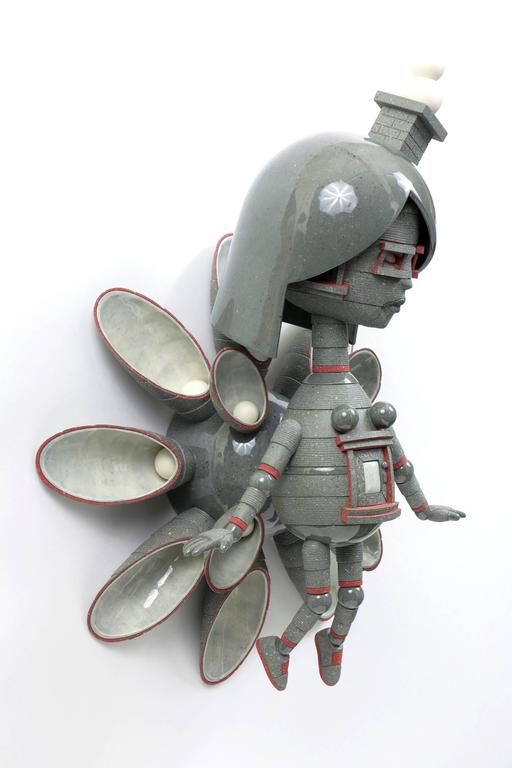 """""""Wallflower"""" , Figurative Wall Hanging Ceramic Sculpture  - Gray Abstract Sculpture by Calvin Ma"""