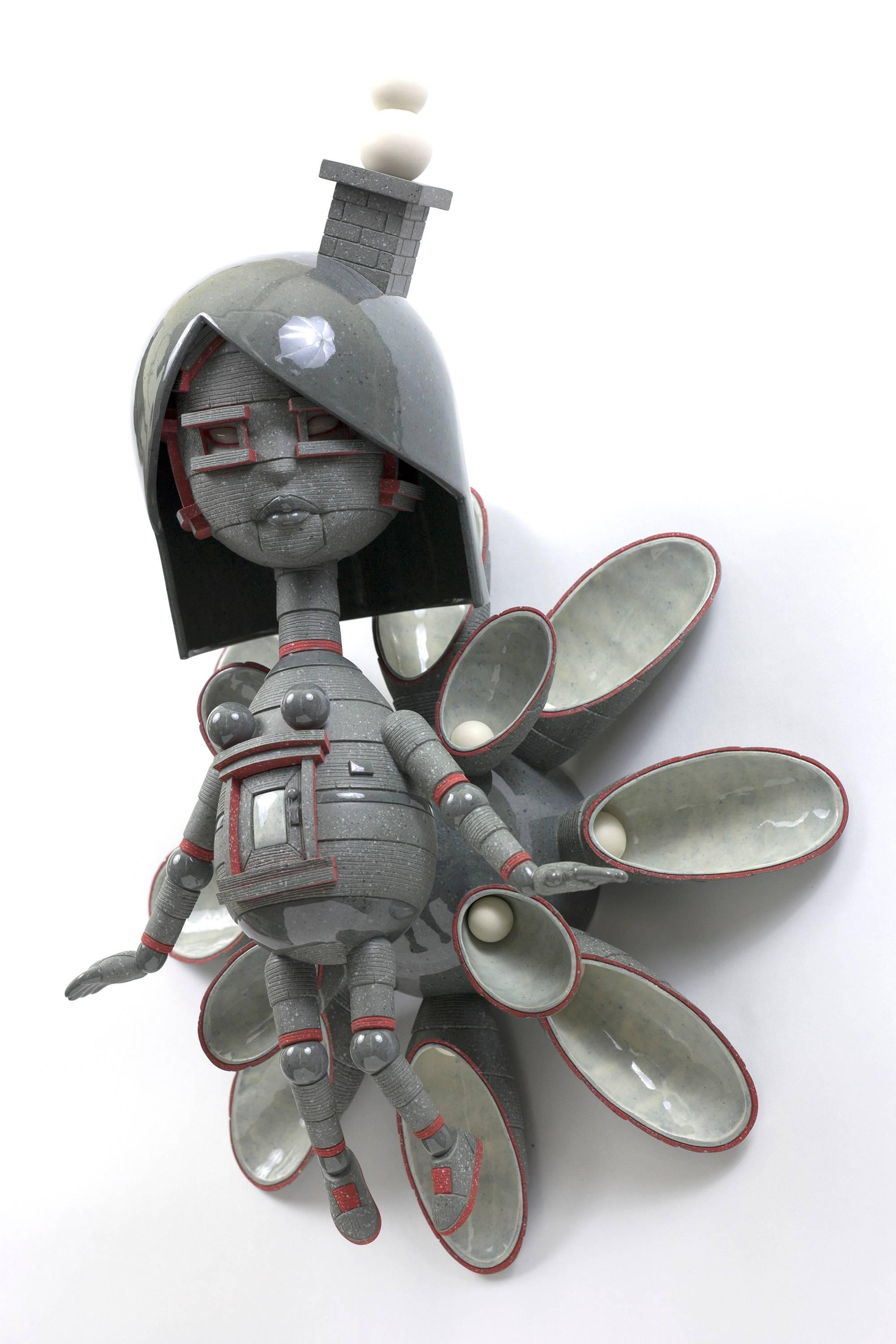 """""""Wallflower"""" , Contemporary Figurative Wall Hanging Ceramic Sculpture with Glaze"""