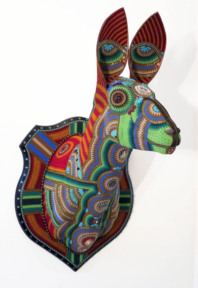 Jan Huling - Trophy by Jan Huling, Wall Mounted Sculpture Covered in Czech Glass Seed Beads 1