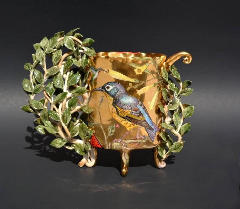 """Walk in the Forest"", Porcelain Sculpture with Gold Luster and Illustration For Sale 1"