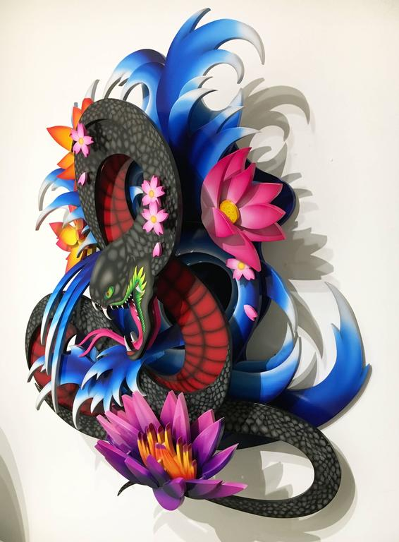 Pleasures Ruin by Drew Graham, Wall Mounted Wood Sculpture, Airbrushed Detail 2