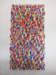 """Cascade Sweets by John Garrett, 96"""" Tall Wall Sculpture, Wire, Beads, & Plastic"""