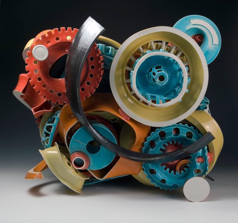 """""""Untitled #3"""", Abstract Ceramic Sculpture with Colorful Glazing  2"""
