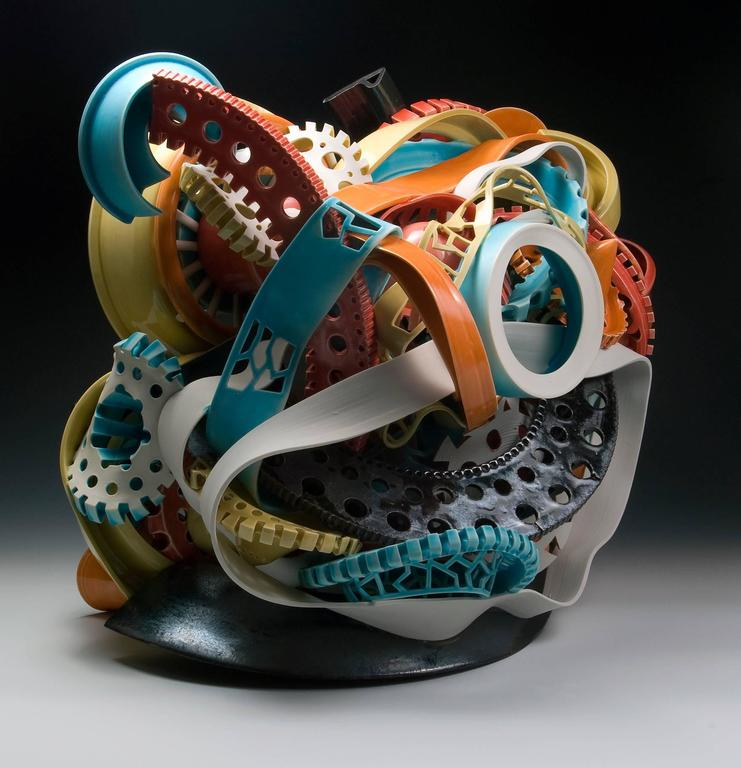 """""""Untitled #3"""", Abstract Ceramic Sculpture with Colorful Glazing  3"""