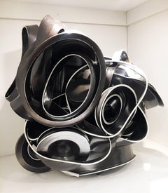 Contemporary Porcelain Sculpture with Glaze, Dynamic and Abstract Ceramic