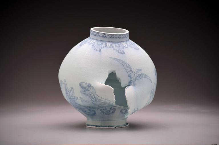 Moon Jar with Dinosaurs by Steven Young Lee, Deconstructed Porcelain Sculpture For Sale 1