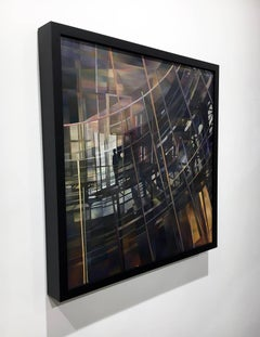 """""""Dusk"""", Contemporary Abstract Oil Painting on Wooden Panel, Framed"""