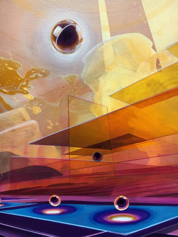 Eclipse, Large Abstract Geometric Acrylic Painting on Canvas 4