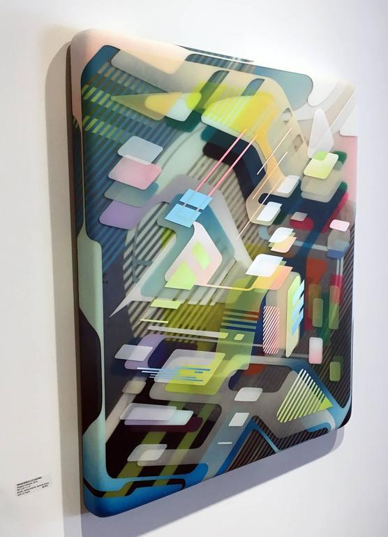 Present Extreme , Multi Layered Painting with Geometric Pattern and Resin - Brown Abstract Painting by Francesco Lo Castro