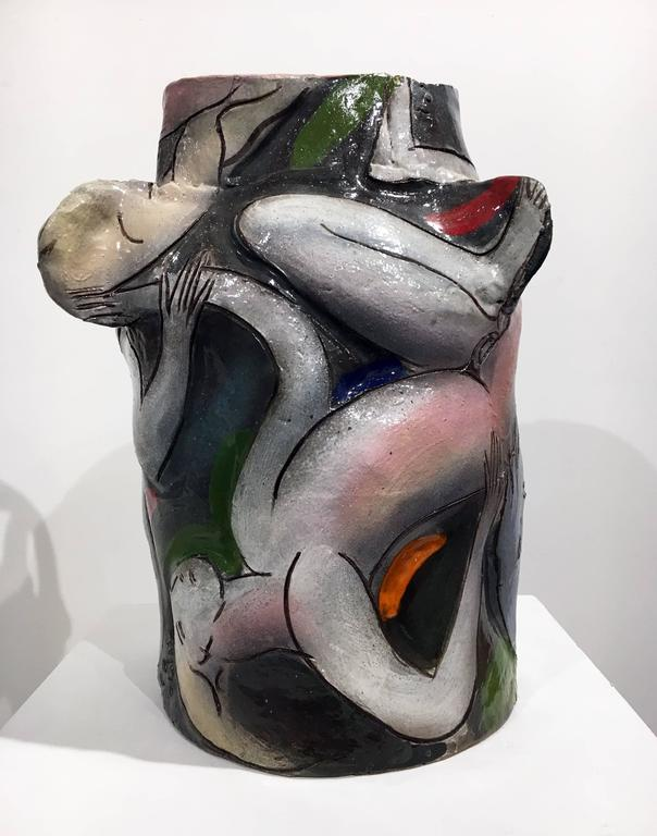 Untitled Stoneware Vessel with Glaze - Fauvist Sculpture by Rudy Autio