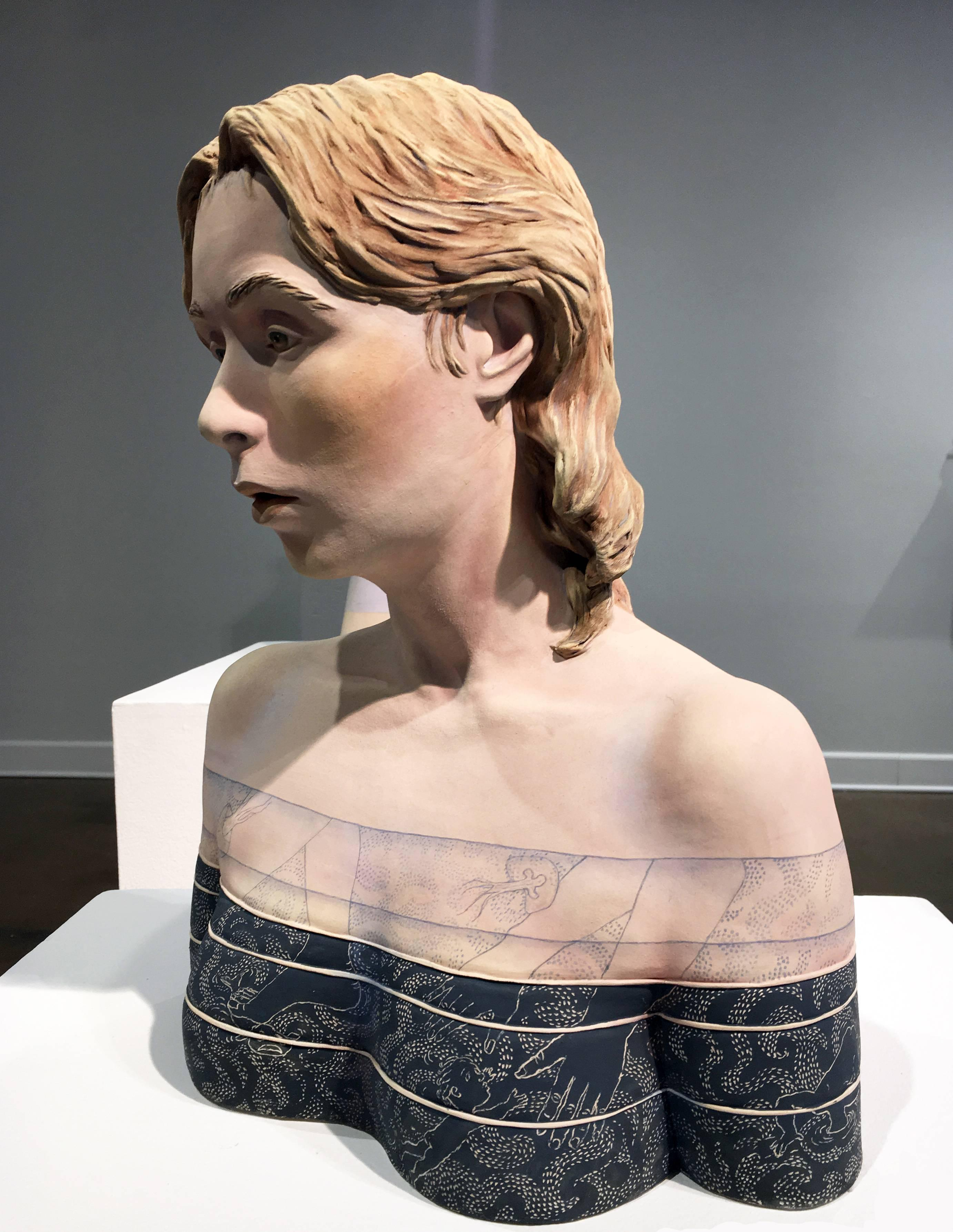 """""""Waterlines"""", Ceramic Sculpture Painted with Acrylics"""