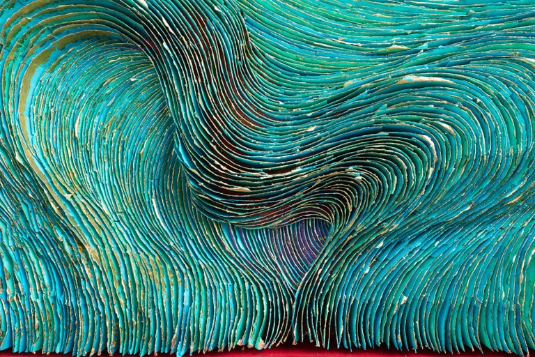 """""""Turbulence"""", Khadi Paper with Acrylic Paint and Gold Leaf on Birch Panel For Sale 1"""