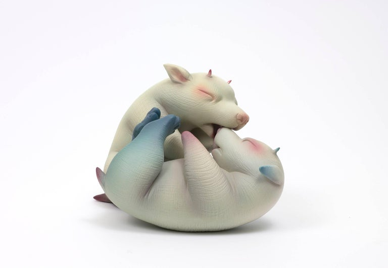 """""""Can't Take the Fight From the Kid"""", Hand Sculpted Porcelain with Acrylic Paint - Sculpture by Erika Sanada"""