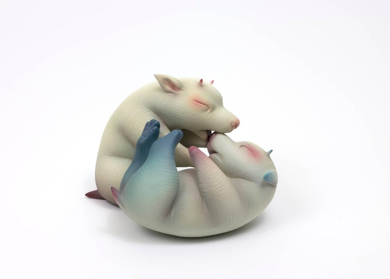 """""""Can't Take the Fight From the Kid"""", Hand Sculpted Porcelain with Acrylic Paint - Pop Art Sculpture by Erika Sanada"""