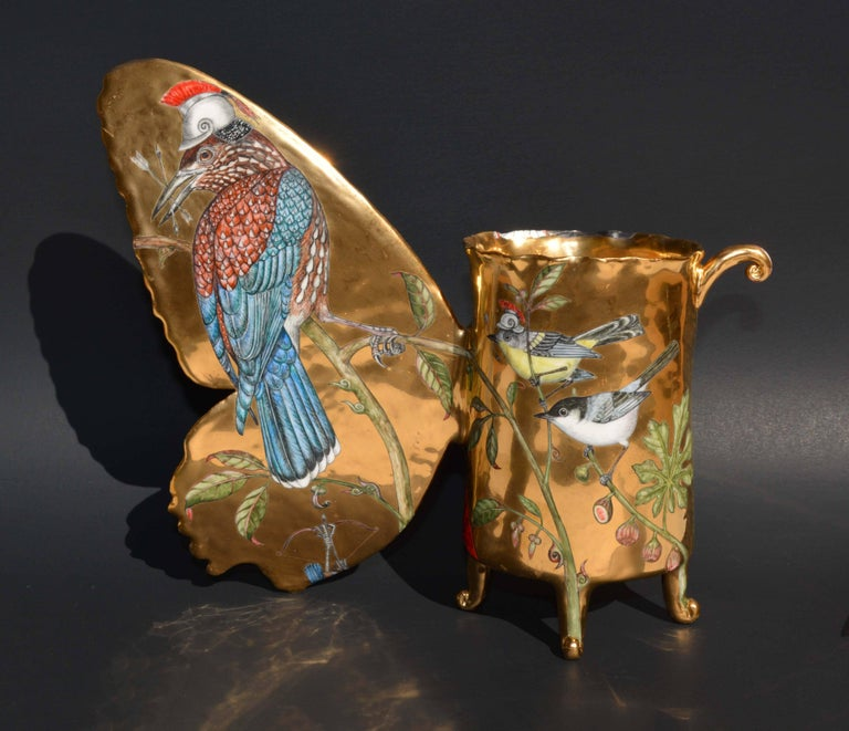 """""""Paladins"""", Hand Sculpted Porcelain with Painted Illustration over Gold Luster  2"""