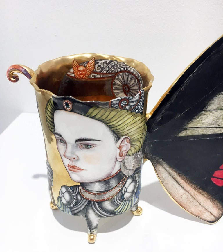 """""""Paladins"""", Hand Sculpted Porcelain with Painted Illustration over Gold Luster  4"""