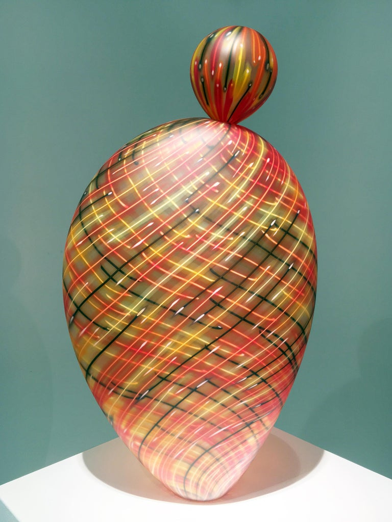 """Firebird Paloma"", Blown Glass Sculpture with Matte Surface"