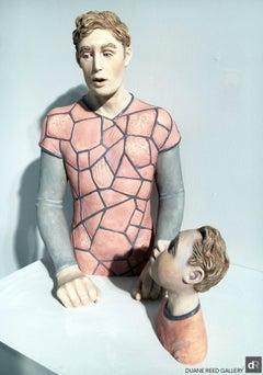 """Video Game Man"", Two Piece Ceramic Sculpture"