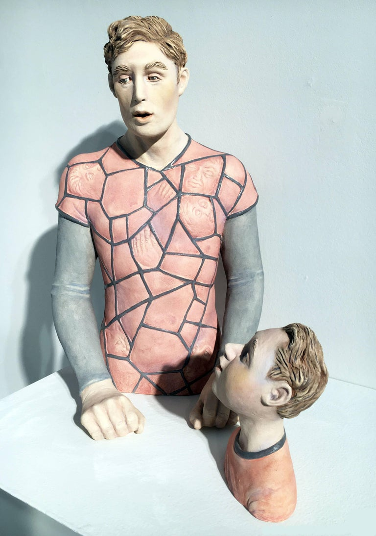 """Video Game Man"", Two Piece Ceramic Sculpture"