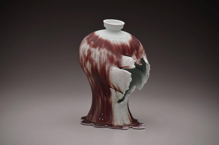 Maebyeong Vase with Mushroom Vine by Steven Young Lee, Copper Inlay with Glaze 2