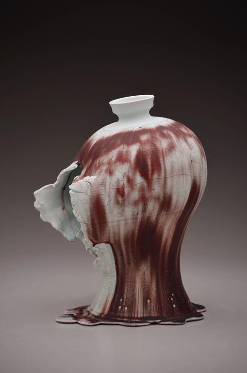 Steven Young Lee - Maebyeong Vase with Mushroom Vine by Steven Young Lee, Copper Inlay with Glaze 1