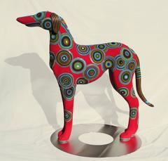 Alpha by Jan Huling, Beaded Dog Sculpture with Magnificent Colors and Pattern