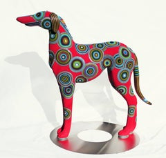 Contemporary Beaded Sculpture, Alpha Dog with Stainless Steel Stand