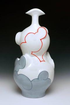 """Gourd Cloud Bottle"", Contemporary Porcelain Sculpture, Glazed Ceramic, Design"