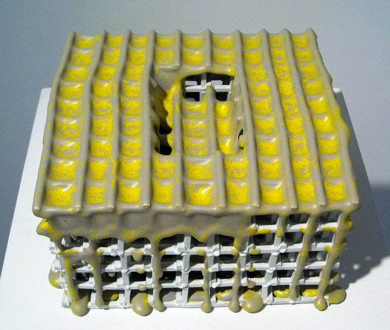 Abstract Ceramic Sculpture with Bright Yellow Glaze, Architectural, Porcelain For Sale 1