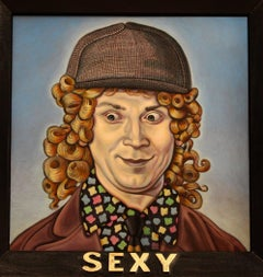 """Sexy"", Framed, Contemporary, Oil, Portrait, Painting, on Copper"