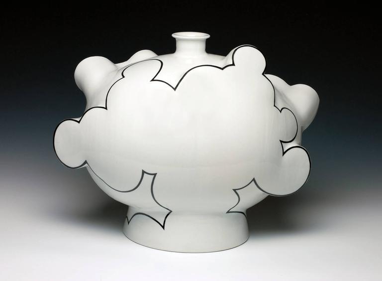"""Cloud Bottle"", Porcelain Vase with Glaze and China Paint"