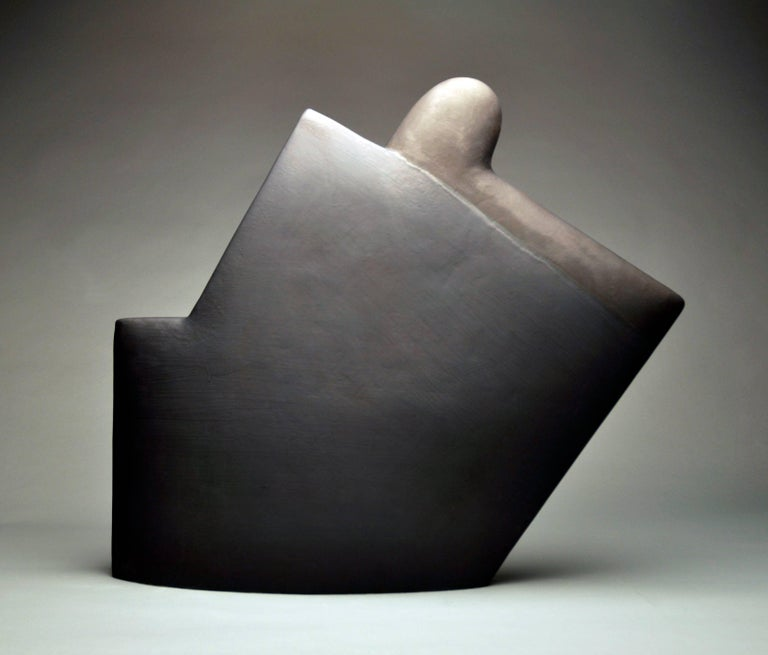 """Black Number 401"" , Minimalist Ceramic Sculpture with Two Toned Glazing"