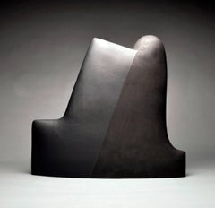 """Black Number 400"" , Minimalist Ceramic Sculpture with Two Toned Glazing"