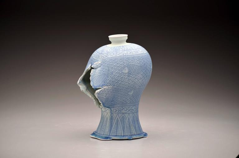 Steven Young Lee - Maebyeong Vase with Fish Decoration by Steven Young Lee, Porcelain with Cobalt 1