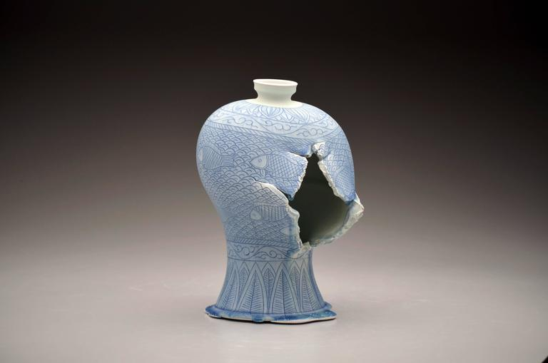 Maebyeong Vase with Fish Decoration by Steven Young Lee, Porcelain with Cobalt 2