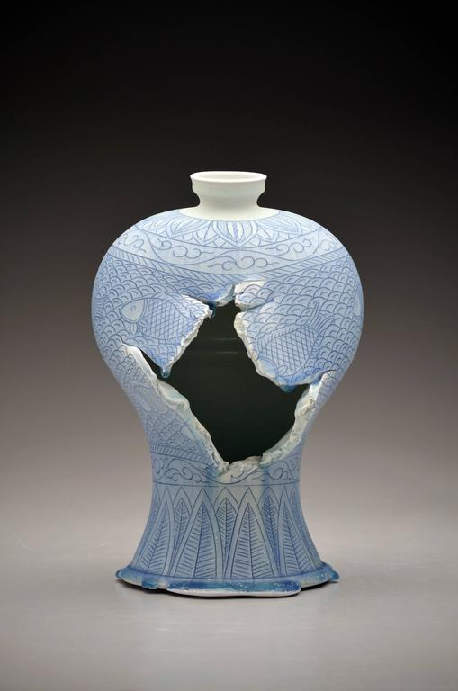 Maebyeong Vase with Fish Decoration by Steven Young Lee, Porcelain with Cobalt 3