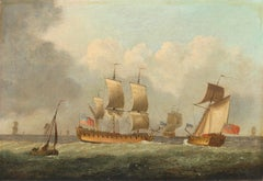 A FRIGATE AND A ROYAL YACHT AT SEA