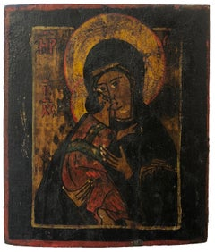 "19th/20th Century Russian Icon ""Blessed Mother of Vladimir"""