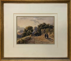 Circle of David Cox The Younger - Figures on a path