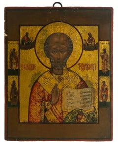 Orthodox Icon of Saint Nicholas surrounded by scenes from his life. 19th Century