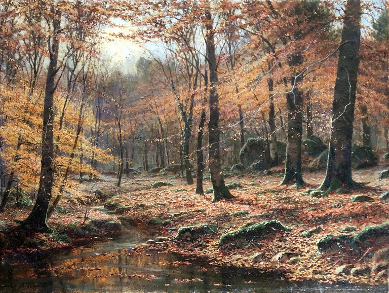 A Woodland Stream - John A. Trench - Pre-Raphaelite - Oil Painting - 19 Century - Brown Landscape Painting by John A. Trench