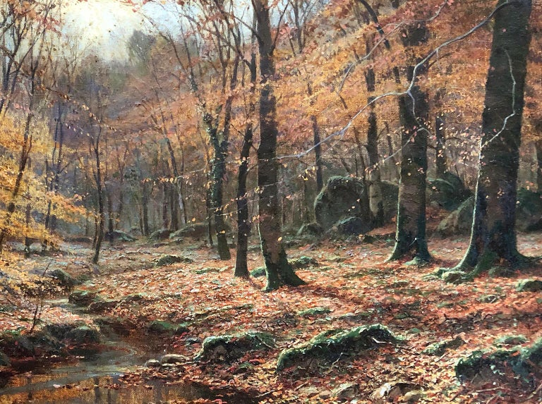 A Woodland Stream - John A. Trench - Pre-Raphaelite - Oil Painting - 19 Century For Sale 1