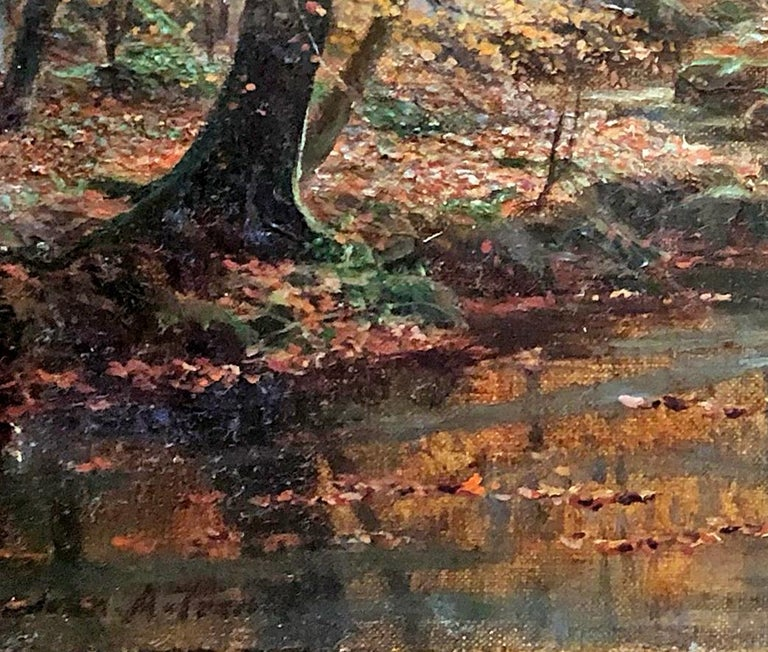 A Woodland Stream - John A. Trench - Pre-Raphaelite - Oil Painting - 19 Century For Sale 2