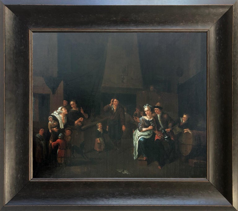 Courtly company in the tavern - Circle of Jan Josef Horemans the Elder - Old Masters Painting by Jan Josef Horemans the Elder