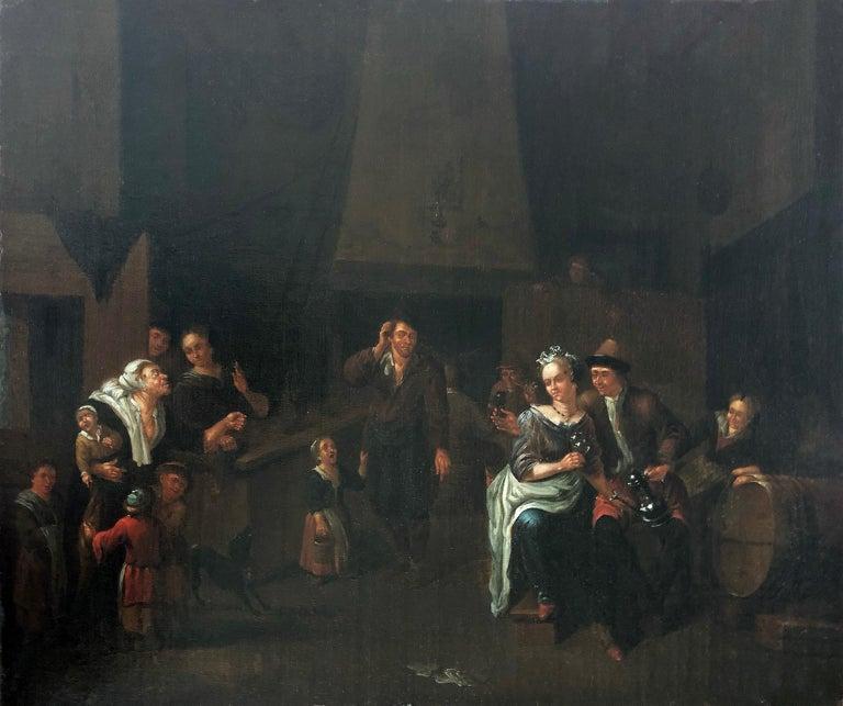 Courtly company in the tavern - Circle of Jan Josef Horemans the Elder - Painting by Jan Josef Horemans the Elder