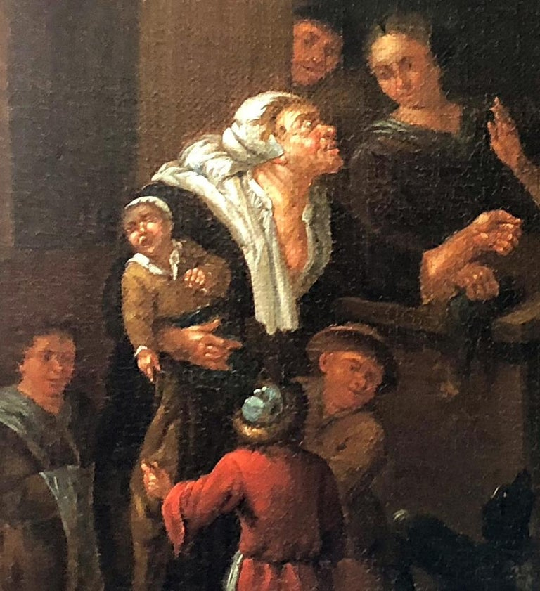 Courtly company in the tavern - Circle of Jan Josef Horemans the Elder - Black Figurative Painting by Jan Josef Horemans the Elder